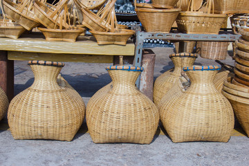 bamboo creel  in a market