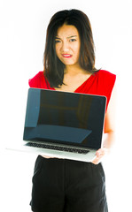 Saleswoman showing a laptop