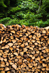 wooden logs storage background