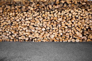 wooden logs storage