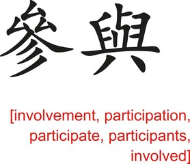 Chinese Sign for involvement,participation,participate,involved