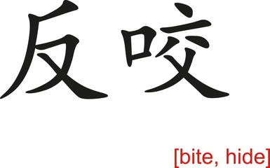 Chinese Sign for bite, hide