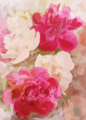 Greeting floral card with peony