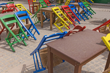 street cafe chairs tables colors