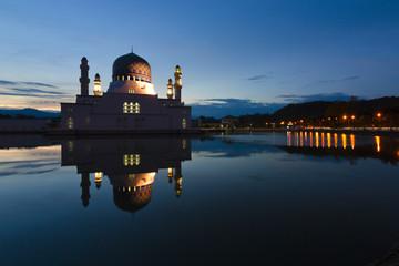 Kota Kinabalu city mosque at sunrise in Sabah, Malaysia