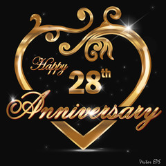 28 year anniversary golden heart card