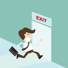 Exit - Businessman running exit door sign