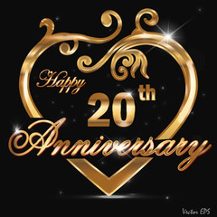 20 year anniversary golden heart card