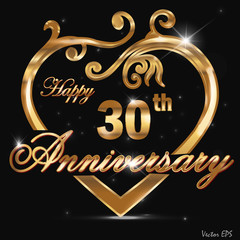 30 year anniversary golden heart card
