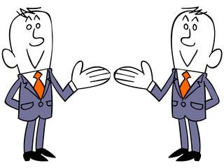 右側と左側を紹介するビジネスマンのセット