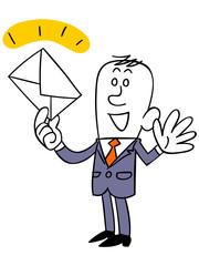 メールをキャッチするビジネスマン