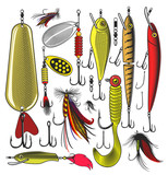 Set of artificial fishing lures