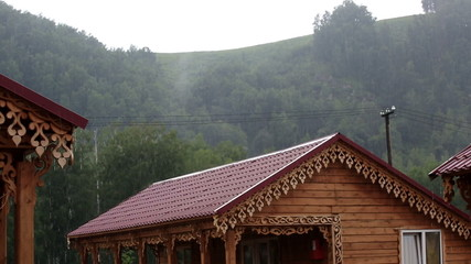 Heavy rain in the mountains. Altai Krai. Russia.