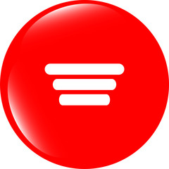 List sign icon. Content view option symbol. web shiny button