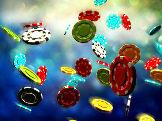 3d illustration of Poker Chips, sunglasses and cards