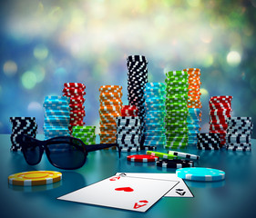 3d illustration of Poker Chips, sunglasses and cards.