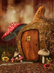 Jesienny baśniowy domek z grzybami i słonecznikami