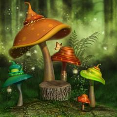 Kolorowe baśniowe grzyby z lampionami i motylami