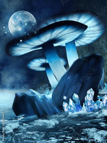 Niebieskie świecące grzyby i kryształy na zamarzniętym jeziorze