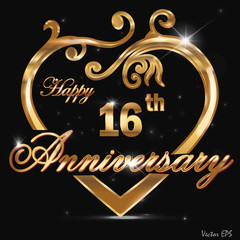 16 year anniversary golden heart card