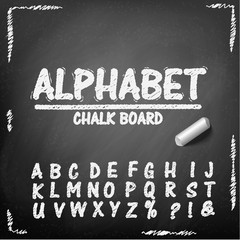 Chalk board hand drawing alphabet