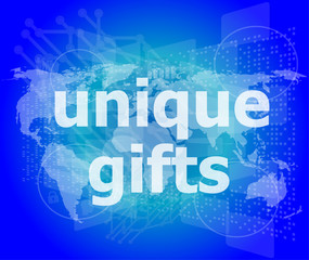 unique gifts text on digital touch screen - holiday concept