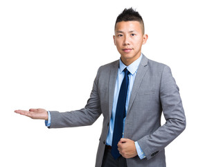 Businessman with hand presentation