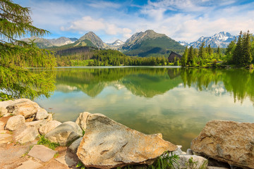 Wonderful mountain lake in the High Tatras,,Slovakia,Europe