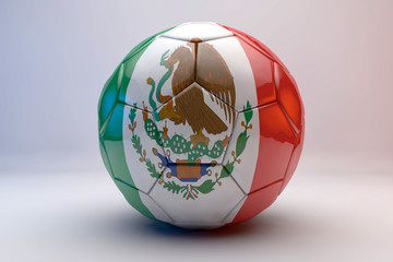 3d render of soccer ball with mexic flag
