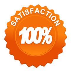 100 pour 100 satisfaction sur bouton web denté orange