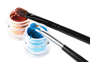Makeup brushes and powder