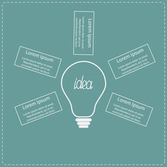 Big white light bulb infographic with text. Idea concept.