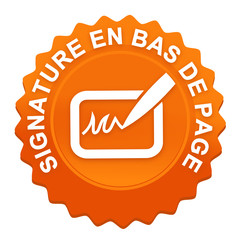 signature en bas de page sur bouton web denté orange