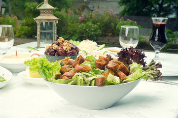 Arabian food of fattoush, dates, jalab served in Ramadan