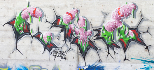 Abstract graffiti on a legal wall in public skatepark