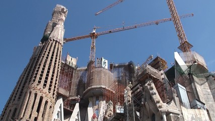 Construction of Sagrada Familia church. Passion facade