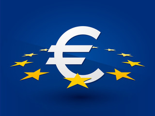 Euro symbol surrounded by the stars on a blue background