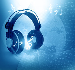 Digital world  with headphones