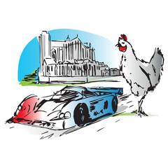 Sarthe Le Mans 24 heures poulet Loue cathedrale Saint julien 3