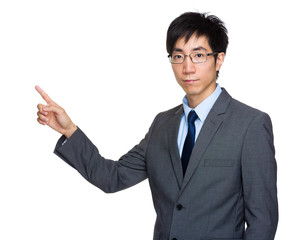 Asian businessman with finger point out