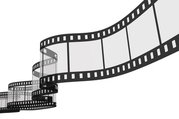 3d film strip on white background