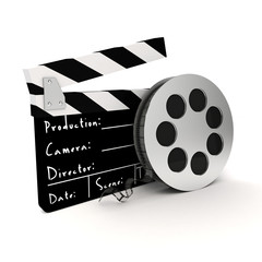 3d clapper board and film roll on white background