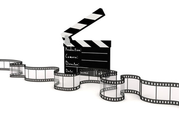 3d clapper board and film strip on white background