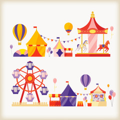 carousels and ferris wheel