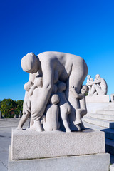 Sculptures in Vigeland park mother and kids