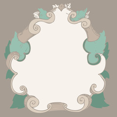 baroque frame background vector Illustration, hand drawing