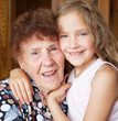 Elderly woman with great-grandchild