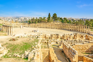 Scenic the ancient roman city of Gerasa in Jerash, Jordan