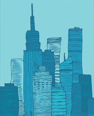 vector blue city, vector Illustration, hand drawing