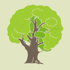 tree nature vector banner, vector Illustration, hand drawing